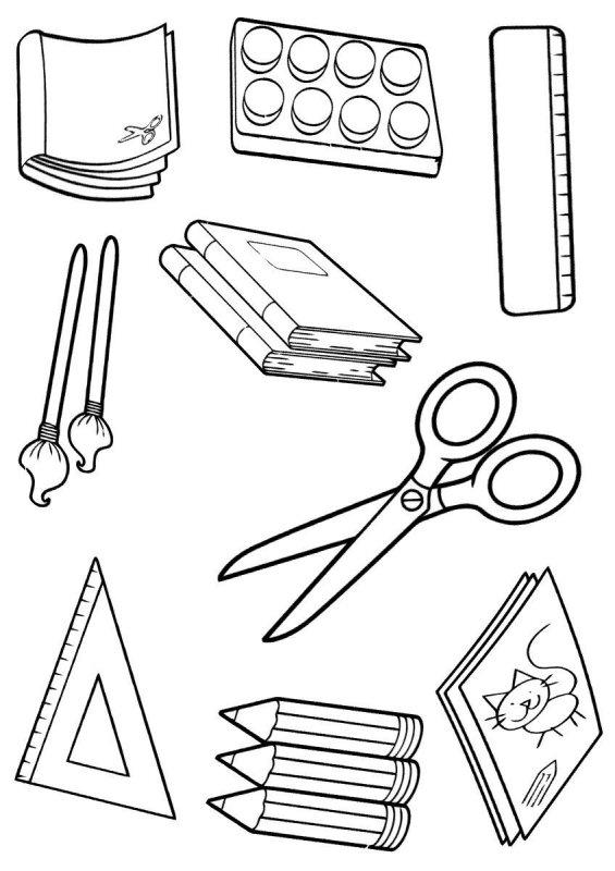 Desene Cu Rechizite Scolare De Colorat Imagini și Planșe De