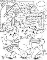Desene cu Cei trei purceluși de colorat, imagini și planșe de colorat cu cei trei purceluși