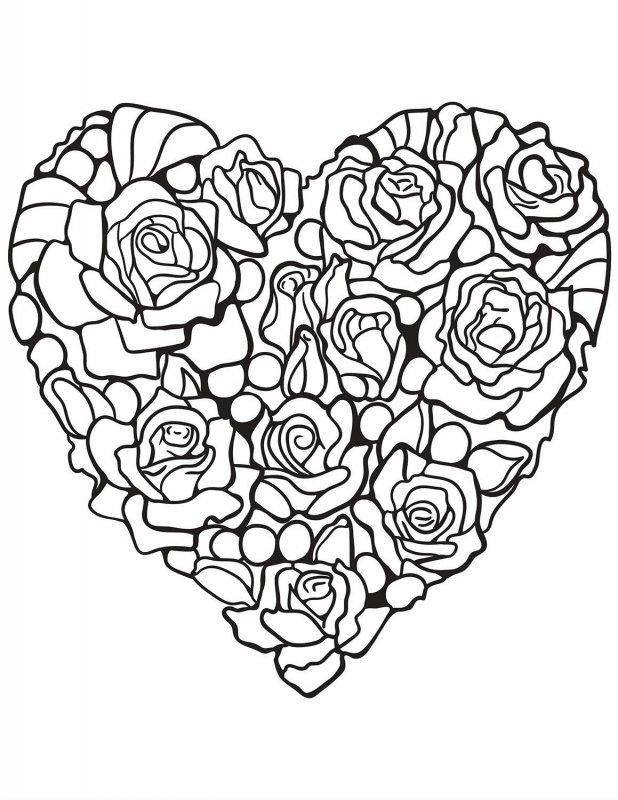 Desene Cu Inimi Si Trandafiri De Colorat Imagini și Planșe