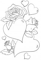 Desene cu Inimi si trandafiri de colorat, imagini și planșe de colorat cu Inimi si trandafiri