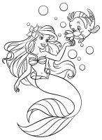 Desene cu Mica Sirena Ariel de colorat, imagini și planșe de colorat cu Ariel
