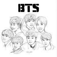 Desene cu BTS de colorat, imagini și planșe de colorat cu BTS